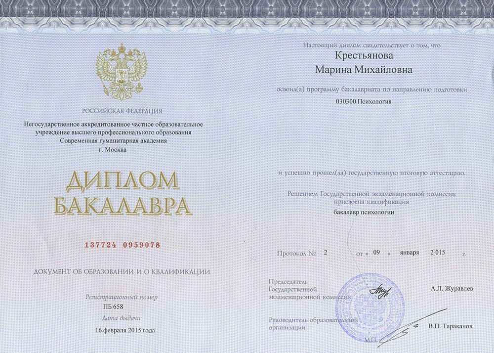 Гладышева Марина Михайловна. Диплом